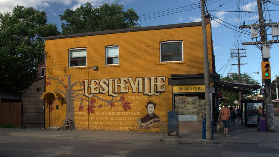 An iconic mural that once stood at Queen Street East and Jones Avenue in Leslieville is pictured. (Wikipedia)