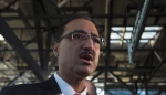 Infrastructure and Communities Minister Amarjeet Sohi speaks with the media at the train station in Ottawa, Wednesday, Jan. 13, 2016. (The Canadian Press/Adrian Wyld)