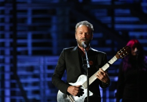 "FILE - In this Nov. 18, 2015 file photo, Sting performs at Shining a Light: A Concert for Progress on Race in America at the Shrine Auditorium in Los Angeles. Sting is trading ""Fields of Gold"" for a court of stars. The Grammy-winning artist known for hits like ""Roxanne"" and ""Desert Rose"" will perform the halftime show at the NBA All-Star Game on Feb. 14, 2016, at the Air Canada Centre in Toronto. (Photo by Rich Fury/Invision/AP, File)"