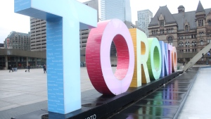 The Toronto sign outside city hall is shown in this file photo. (Chris Fox/CP24.com)