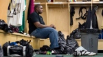 Then Saskatchewan Roughriders offensive lineman Wayne Smith cleans out his locker on Tuesday, Nov. 11, 2008 at Mosaic Stadium in Regina, Sask.  THE CANADIAN PRESS/Troy Fleece