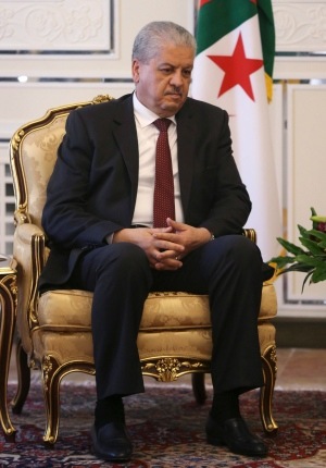 Algerian Prime Minister Abdelmalek Sellal sits during a meeting with Iranian President Hassan Rouhani in Tehran, Iran, Tuesday, Nov. 24, 2015. (AP Photo/Vahid Salemi)