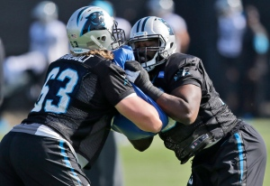 Carolina Panthers tackle Michael Oher (73), right, goes through drills with a teammate David Foucault, left, during practice in preparation for the Super Bowl 50 football game Friday Feb. 5, 2016 in San Jose, Calif. (AP Photo/Marcio Jose Sanchez)