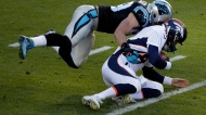 Carolina Panthers' Luke Kuechly (59) sacks Denver Broncos' Peyton Manning (18) during the first half of the NFL Super Bowl 50 football game Sunday, Feb. 7, 2016, in Santa Clara, Calif. (AP Photo/Charlie Riedel)