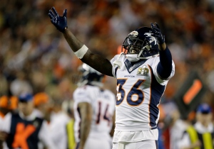 Denver Broncos' Kayvon Webster (36) celebrates near the end of the game during the second half of the NFL Super Bowl 50 football game Sunday, Feb. 7, 2016, in Santa Clara, Calif. (AP Photo/Ben Margot)