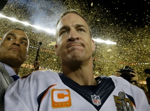 Denver Broncos' Peyton Manning (18) celebrates after the NFL Super Bowl 50 football game against the Carolina Panthers Sunday, Feb. 7, 2016, in Santa Clara, Calif. The Broncos won 24-10. (AP /David J. Phillip)