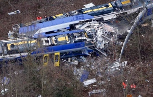 Aerial view of rescue teams at the site where two trains collided head-on near Bad Aibling, Germany, on Tuesday, Feb. 9, 2016. (AP Photo/Matthias Schrader)