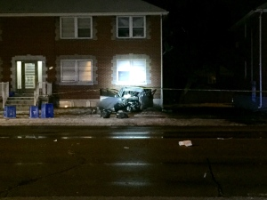 A car that crashed into the front of a building in Oshawa on Wednesday morning is shown. (Michael Nguyen/CP24.com)