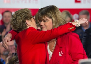 Ontario Premier Kathleen Wynne attends a rally for Elizabeth Roy, Ontario Liberal candidate for Whitby-Oshawa, in Whitby on Tuesday February 9, 2016. THE CANADIAN PRESS/Fred Thornhill