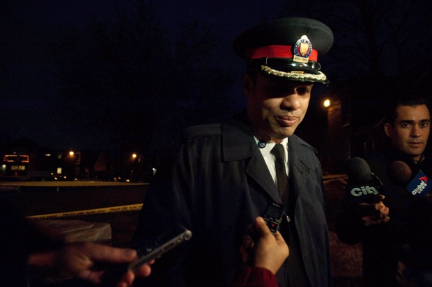 Deputy Chief Peter Sloly speaks with reporters at the scene of a multiple shooting near Driftwood and Finch Avenues in Toronto Thursday, April 16, 2015. (The Canadian Press/Galit Rodan)