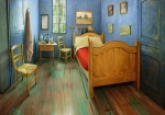 The Monday, Feb. 8, 2016 photo provided by The Art Institute of Chicago shows a Chicago apartment decorated to look like Vincent van Gogh's painting of his bedroom in the south of France. (Art Institute of Chicago via AP)