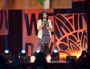 "Musician Nelly Furtado speaks during ""We Day"" in Toronto on Thursday, Oct. 2, 2014. THE CANADIAN PRESS/Hannah Yoon"