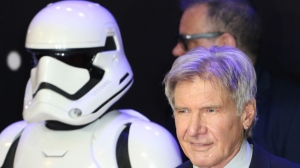 Harrison Ford who plays Han Solo, attends the London premiere of Star Wars: The Force Awakens, at Leicester Square on December 16, 2015. (Richard Goldschmidt/Newzulu)