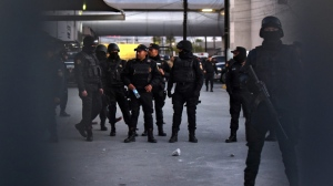 Members of the Mexican Civil Force at the prison of Topo Chico, in Monterrey, Nuevo Leon, Mexico, 11 February 2016. Scores of people died in a prison fire and riot. The riot reportedly was triggered by an attempted prison break by inmates belonging to the Los Zetas drug cartel, as one group of prisoners set a fire to distract the guards while other inmates tried to flee.  EPA/MIGUEL SIERRA