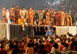 """Models wear fashion from the Yeezy collection at a presentation and album release for Kanye West's latest album, """"The Life of Pablo,"""" Thursday, Feb. 11, 2016 at Madison Square Garden in New York. (AP Photo/Bruce Barton)"""