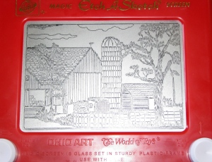 In this June 26, 2008 file photo, an Etch-A-Sketch drawing made by artist Andy Kingston depicts a rural farm scene in Poplar Bluff, Mo. Ohio Art Co. sold the Etch A Sketch and the spinoff Doodle Sketch to Spin Master Corp. for an undisclosed price to a toy firm in Toronto. Ohio Art announced the surprise move Thursday, Feb. 11, 2016. (Margaret Harwell/The Daily American Republic via AP)