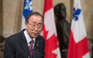 United Nations Secretary General Ban Ki-moon responds to a question during a news conference while visiting city hall Friday, Feb.12, 2016, in Montreal. (The Canadian Press/Paul Chiasson)
