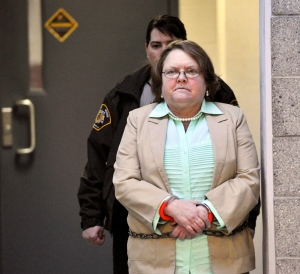 In a Tuesday, March 10, 2015 file photo, Joyce Hardin Garrard walks to the Etowah County Judicial Building from the Etowah County Detention Center in Gadsden, Ala. (AP Photo/AL.com, Frank Couch)