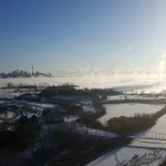 Steam is seen coming off of the lake as frigid temperatures hit Toronto on Feb. 13, 2016.  (Sandie Benitah/ CP24)