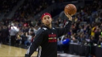 Western Conference's Stephen Curry, of the Golden State Warriors, takes part in a practice session ahead of the NBA All-Star Game in Toronto, Saturday, February 13, 2016. THE CANADIAN PRESS/Chris Young