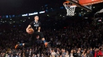 Minnesota Timberwolves' Zach LaVine slam dunks the ball during the NBA all-star skills competition in Toronto on Saturday, February 13, 2016. LaVine won the event. THE CANADIAN PRESS/Mark Blinch