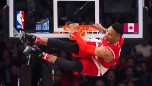 Western Conference's Russell Westbrook, of the Oklahoma City Thunder, slams dunks during first half NBA All-Star Game basketball action in Toronto on Sunday, February 14, 2016. THE CANADIAN PRESS/Mark Blinch