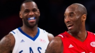 Western Conference's Kobe Bryant, of the Los Angeles Lakers, (24) and Eastern Conference's LeBron James, of the Cleveland Cavaliers, (23) laugh during second half NBA All-Star Game basketball action in Toronto on Sunday, February 14, 2016. THE CANADIAN PRESS/Mark Blinch