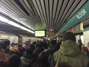 Large crowds are seen on the platform at Bloor Station after a major transit disruption downtown this morning. (Stephanie Smyth/ CP24)