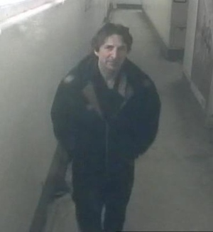 A man who is alleged to have exposed himself to a fellow passenger on board a GO Train over the weekend is shown in this surveillance camera image released by the Toronto Police Service.
