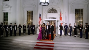 U.S. President Barack Obama and First Lady Michelle Obama welcoming Prime Minister Trudeau and his wife Sophie Gregoire Trudeau at the North Portico of the White House in Washington, D.C., on March 10, 2016. This is the first official visit of Trudeau to the White House. (Olivier Douliery/EPA/POOL)