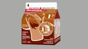 A 237-ml container of Beatrice brand Chocolate Partly Skimmed Milk 1% M.F. is pictured in this image from the Beatrice website.