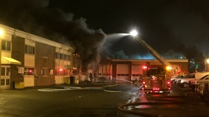 No injuries were reported after a fire broke out at a City of Toronto operations yard in Scarborough. (Mike Nguyen/ CP24)