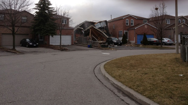 A damaged house on Douglas Haig Drive in Markham is seen in this photograph before a fire started on Tuesday, March 15, 2016. (Segaram Mathivaman)