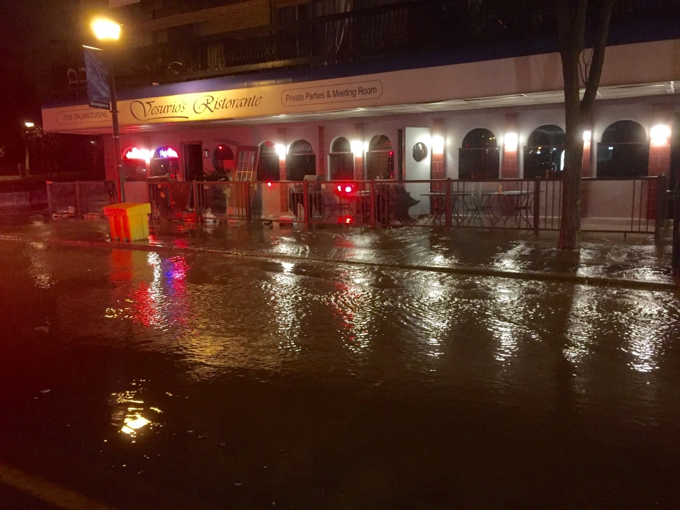 Apartments in Brampton were evacuated this morning after a water main break at 91 and 81 George Street South. (Mike Nguyen/ CP24)