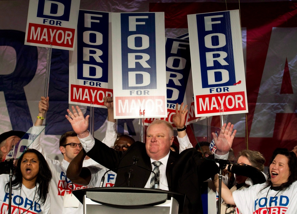 Toronto mayor Rob Ford reacts as he speaks to his supporters during his campaign launch in Toronto on April 17, 2014. Former Toronto Mayor Rob Ford, whose scandal-plagued time in office made him an international celebrity, has died. THE CANADIAN PRESS/Nathan Denette