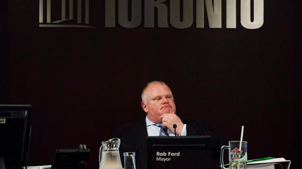 Toronto Mayor Rob Ford attends an executive committee meeting at city hall on May 28, 2013. (The Canadian Press/Michelle Siu)