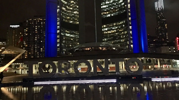 The Toronto sign at Nathan Phillips Square is dimmed in honour of Coun. Rob Ford who passed away on Tuesday, March 22, 2016. (CP24/Courtney Heels)