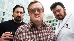 The Trailer Park Boys John Paul Tremblay, as Julian, left, Mike Smith, as Bubbles, centre, and Robb Wells, as Ricky, right, pose for a photograph in Toronto on Thursday, Nov. 27, 2008 (The Canadian Press/Nathan Denette)