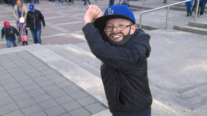 Mini Bautista (also known as Oscar Wood) is going to the Blue Jays' home opener. (CP24)