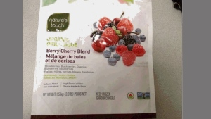 Nature's Touch Organic Berry Cherry Blend is pictured in this photo provided by the CFIA.