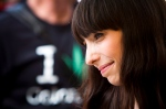 Jodie Emery, wife of Marijuana activist Marc Emery listens to her husband during his 'welcome home party' in downtown Vancouver, B.C., on August 17, 2014. (Ben Nelms / The Canadian Press)