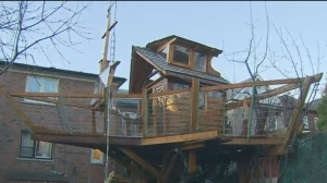 The city says it will no longer demand that a Bloor West Village resident tear down the elaborate treehouse boat he built for his children years ago.