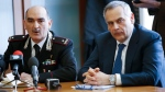 Carabinieri General and chief of ROS (Special Operations Group) Giuseppe Governale, left, sits by head of anti-terrorism unit Lamberto Giannini, during a news conference to illustrate an anti-terrorism operation, in Milan, Italy, Thursday, April 28, 2016. Italian police have arrested four people in a foreign fighter investigation Thursday, including a Moroccan-born man living in Italy who had received Islamic State orders to carry out attacks on Rome during Holy Year, prosecutors said. (AP Photo/Antonio Calanni)