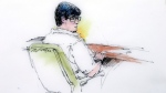 In this courtroom sketch, Enrique Marquez appears in federal court in Riverside, Calif., Monday, Dec. 21, 2015. Marquez, 24, who authorities say bought the assault rifles his friend used in the San Bernardino massacre appeared in court Monday to face terrorism-related allegations. (AP Photo/Bill Robles)