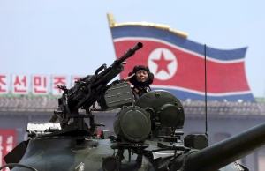 In this Saturday, July, 27, 2013, file photo, a North Korean soldier salutes while in a military tank as they parade through Kim Il Sung Sqaure during a mass military parade celebrating the 60th anniversary of the Korean War armistice in Pyongyang, North Korea. (AP Photo/Wong Maye-E, File)