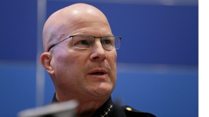 San Francisco Police Chief Greg Suhr speaks during a news conference Friday, April 29, 2016, in San Francisco. Suhr ordered that all officers attend an anti-harassment class, as he released more transcripts of a former lieutenant and two former officers exchanging racist text messages. (AP Photo/Eric Risberg)