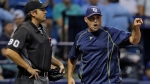 Tampa Bay Rays manager Kevin Cash, right, argues with home plate umpire Mark Ripperger after being ejected over ball and strike calls during the fifth inning of a baseball game against the Toronto Blue Jays, Friday, April 29, 2016, in St. Petersburg, Fla. (AP Photo/Chris O'Meara)