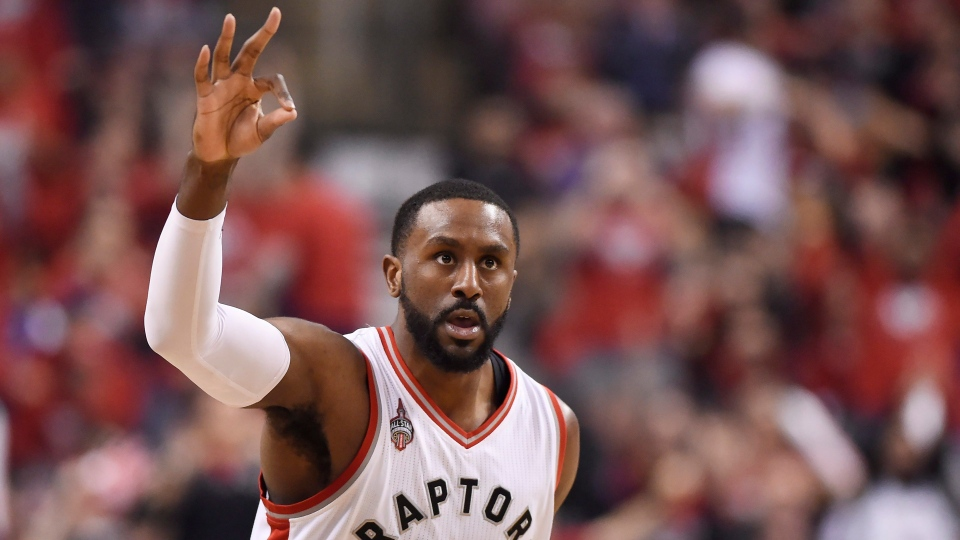 Toronto Raptors forward Patrick Patterson celebrates after scoring a three-pointer during second half round one NBA playoff basketball action against the Indiana Pacers in Toronto on Sunday, May 1, 2016. THE CANADIAN PRESS/Frank Gunn