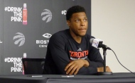 Toronto Raptors guard Kyle Lowry answers questions at the team's training facility in Toronto, Monday, May 2, 2016. After finally dispatching the Indiana Pacers, the Toronto Raptors turn their attention to Miami and the second round of the NBA playoffs. (THE CANADIAN PRESS/Neil Davidson)