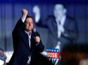 Republican presidential candidate Sen. Ted Cruz, R-Texas, speaks during a rally at the Indiana State Fairgrounds in Indianapolis, Monday, May 2, 2016. (AP Photo/Michael Conroy)